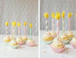 (via Icing Designs: DIY Paper Straw Birthday Candle Cupcake Toppers)