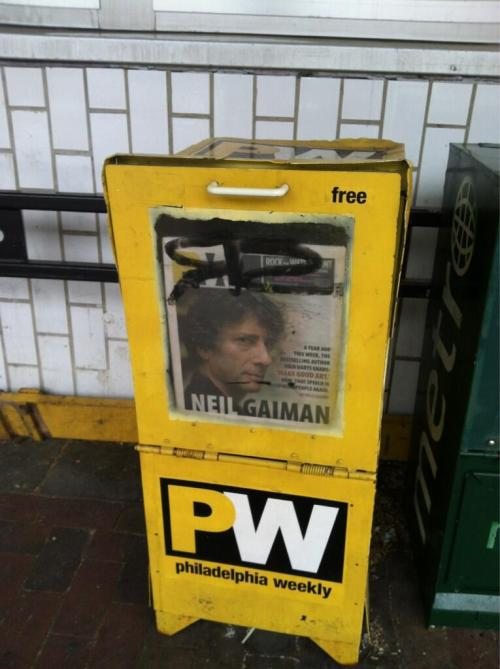 neil-gaiman:  Help. I am trapped in a box in Philadelphia.  From Twitter.