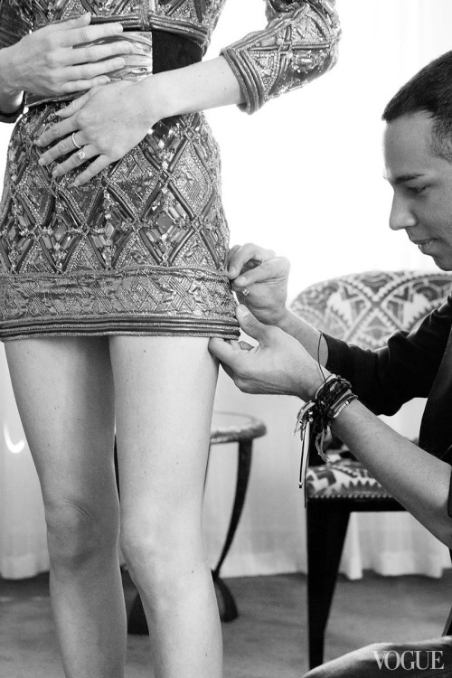 Kate Bosworth getting ready for the Met Gala with Balmain creative director Olivier Rousteing.