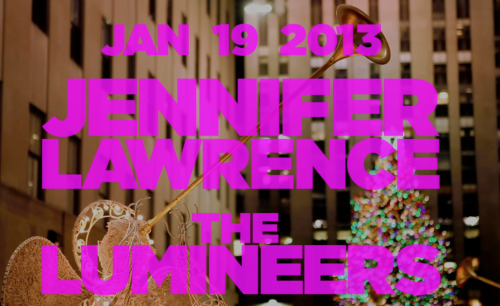 nbcsnl:  First show of 2013: Jan 19th with host Jennifer Lawrence and music from The Lumineers!