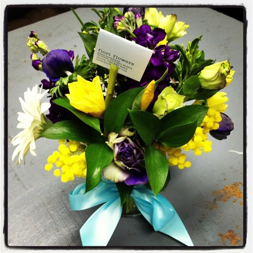 A gorgeous congratulatory bouquet for the proud parents of a new baby!! Loving the daffodils!