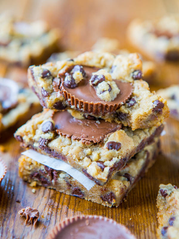 2-ingredient peanut butter cup chocolate chip cookie dough bars.