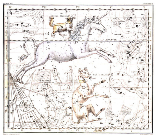 oh-girl-among-the-roses:  'Monoceros constellation' from the 1820 Celestial Atlas by Alexander Jamieson