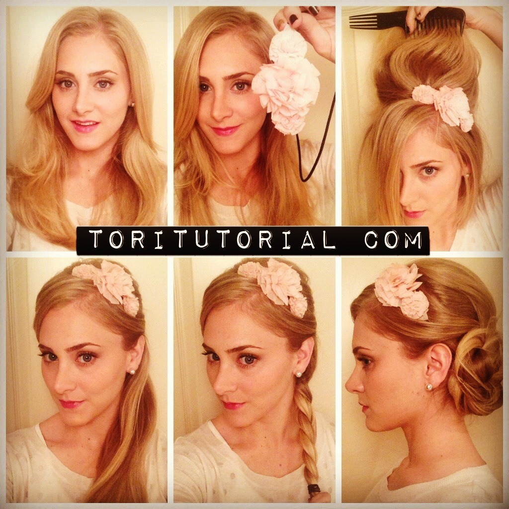 Embellished Updo I found this headband at Aerie, but you can use any type of feminine piece.  There are some with feathers that are pretty distinct and cool.  Or you can even take a look at etsy.com to find some custom made embellishments. 1) Start with a deep side part in your hair.  Put the headband on and pull it so it sits right above the crown of your head.  Allow the hair from your deep side part and around your face to come out of the headband. 2) Tease the crown of your head to create volume behind the headband.  Use several bobby pins to secure the poof you've created.  Loosely braid the remaining hair.    Once braided pull the braid with your hands to be even looser. 3) Wrap the braid into a bun and bobby pin to secure.  Spritz with hairspray.