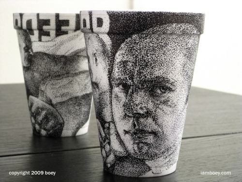 cjwho:  Amazingly Detailed Illustrations Drawn on Foam Coffee Cups by Cheeming Boey Art Attack // Styrofoam Cup Artist Boey on YouTube