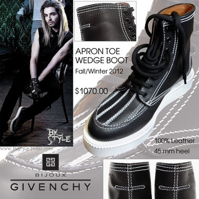 "finalemofantasy:  Bill Kaulitz Style [GALA Photoshoot 2013] - ""Apron Toe Wedge Boot"" by Givenchy  Just throwing this out there…isn't leather made out of ANIMALS!? Why the hell is he wearing shit made out of animals if he's such a strong supporter of PETA?"