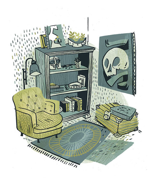 Living room doodle, based on things I have and things I want.  Yeah, the helmet is actually something I have.