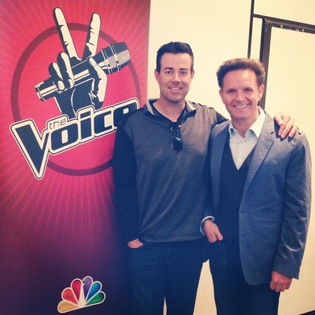 Carson Daly and Mark Burnett at today's special #TheVoice press screening! #TheVoiceMarch25