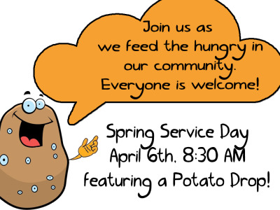 Spring Service Day, Saturday, April 6th: On the morning of Saturday, April 6th, St. Matthew's will be hosting our annual Spring Service Day from 8:30 AM to 12:00 PM (noon).  Like last year, we will be gleaning and bagging of 49,000 pounds of potatoes to give to local food banks. This means that we need everyone to come and be a part of this great mission opportunity.  Come ready to make a difference and feed the hungry!