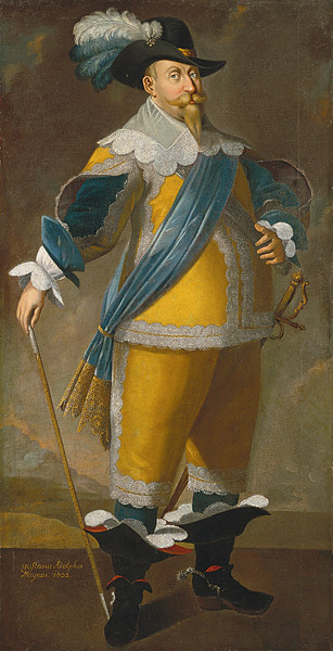 "historyofsweden:  Gustavus Adolphus Rex Sveciae (king of, Sweden in Latin). Vasaätten (the Swedish way of saying Dynasty) Gustavus Adolphus lived from 1594 to 1632. He was the son of Charles IX and Christina of Holstein-Gottorp. His grandfather was Gustav the First - Gustav Vasa as we say it today, was the first of the Royal House of Vasa. Gustavus Adolphus was the father of Queen Christina, which he got with his wife Maria Eleonora of Brandenburg. Queen Christina was the last of the Vasa dynasty on the throne of Sweden. (we will come to her later) Gustav inherited the Swedish throne after his father's death, at age 16. Sweden was at that time a poor country with a weak army and was at war with Denmark, Poland and Russia. Gustav was a very well-formed man, and with the help of his friend Count Axel Oxenstierna, he transformed the country's government, and with a number of innovations, he transformed the Swedish army to the most modern, well-trained and feared. Under his leadership, he made peace with Denmark and on the battlefield, he defeated Poland and Russia, where he conquered the land in Livonia and Ingria. His most famous act was when he allowed Sweden to participate in the Thirty Years War, where he stood on the Protestant side against the Catholic armies under the Holy Roman Emperor. He crushed the imperial army at the Battle of Breitenfeld, and captured several cities and provinces in Germany. He was so ready to conquer the imperial throne and become one of Europe's great leader, but he was killed in combat during the Battle of Lützen. In the post-World is Gustavus Adolphus best known as the one who founded the Swedish empire that would be one of Europe's largest and leading nations during the early modern period. He is considered one of history's foremost military commanders, when he renewed the art of war which has made him known as ""the father of modern warfare"". His works balanced clinched the political and religious powers in Europe. His name is on the squares and statues in Stockholm, Göteborg and Helsingborg. A College named ""Gustavus Adolphus College"" in the USA is named after him."