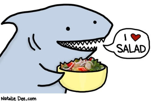 therumpus:  Yes, shark hearts salad almost as much as The Rumpus hearts Natalie Dee. Check out The Rumpus Interview with her!  Natalie Dee might be my favorite web cartoonist. This one is my favorite reaffirming motivator, but all of her stuff is great.