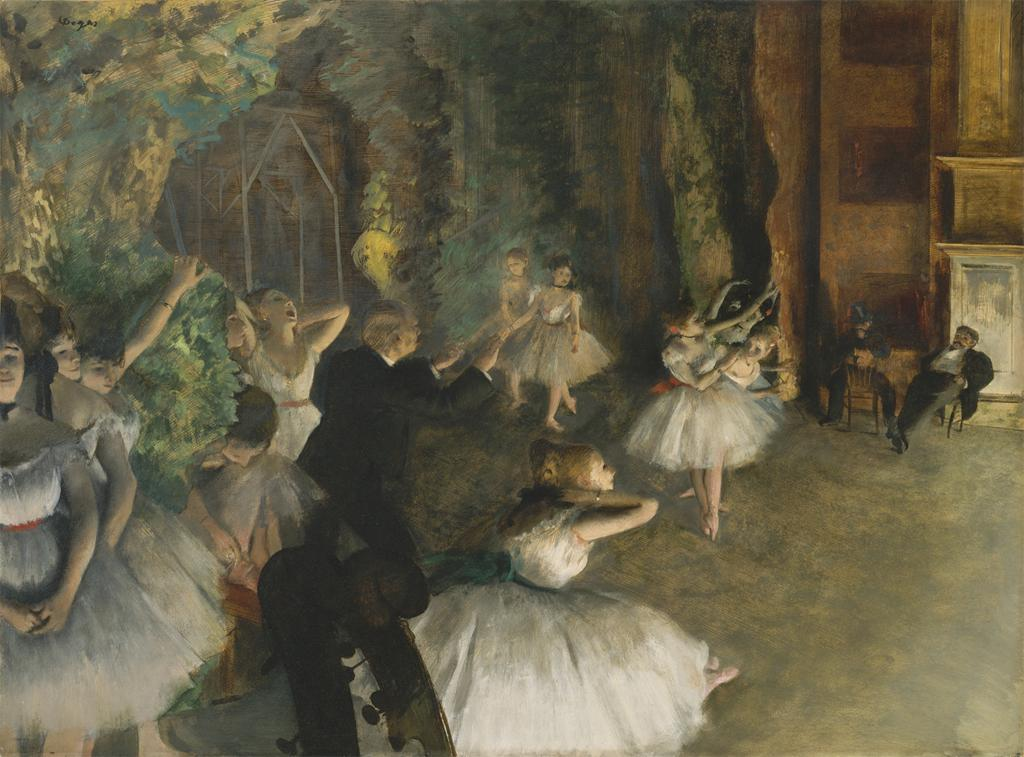 cavetocanvas:  Edgar Degas, The Rehearsal of the Ballet Onstage, 1874
