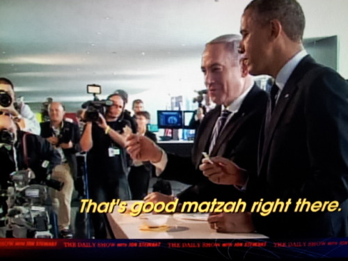 "inothernews:  ""I'm gonna stop you right there, Mr. President. 'Good matzo'? That's what's known in the business as a 'goy tell.' 'Cause unless that matzo was slathered in Fluffernutter or jammed inside a Chipwich, it tastes like the box in came in.""  — JON STEWART, The Daily Show"