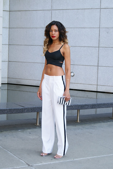 what-do-i-wear:  TopShop Grossgrain Wide Leg Trousers and Cropped Top / Zara Lucite Clutch (neon oneshere) / Forever21 Key Cuff, Happy Face Charm Necklace , and Arrow Ring / Urban Outfitters Aloha Love Ring, Horseshoe Ring, and Midi Ring / Jeffrey Campbell SOIREE  (image: allthingsslim)