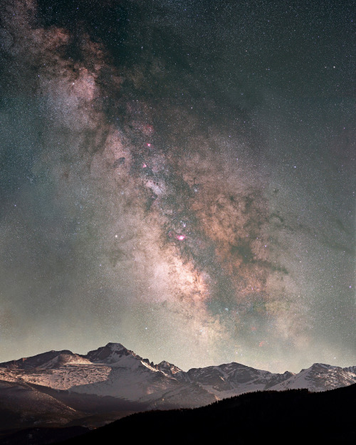 The Milky Way rises over Long's Peak (14,259 feet) as seen from 9,600 feet up Trail Ridge Road in Rocky Mountain National Park. Photo: Pat Gaines