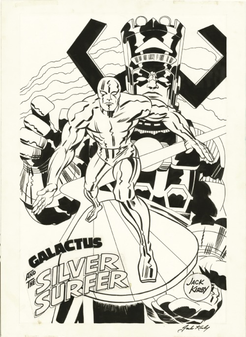 A poster image of the Silver Surfer and galactus done by Jack Kirby for Marvelmania International.