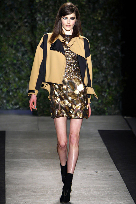 Golden Embellished Dress with biker jacket in Luxus Punk style Fashion Trend for Fall Winter 2013. Tracy Reese Fall Winter 2013. More Punk Styles Fashion Trends for Fall Winter 2013. More Biker Jacket Fashion Trend for Fall Winter 2013. More Sequin Dress Fashion Trend for Fall Winter 2013. May 20th, 2013 11:26  P.M. GMT.
