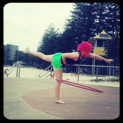 sammirobin:  I finally perfected my one legged hoop trick on both sides, now I just need to focus on keeping my feet pointed while still keeping the hoop spinning at a steady pace!