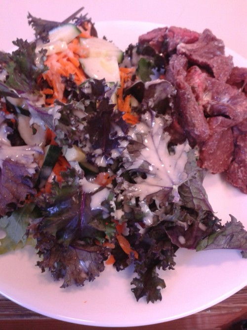 Salad with lemon-tahini dressing and grilled skirt steak with chive butter.  I am dying right now. So excited for grilling season!