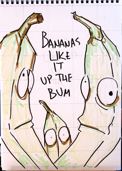 A sketch for my Bananas Like It painting. I Originally meant to do the final one with markers too, but my yellow marker had gotten so dry that it was almost unusable.