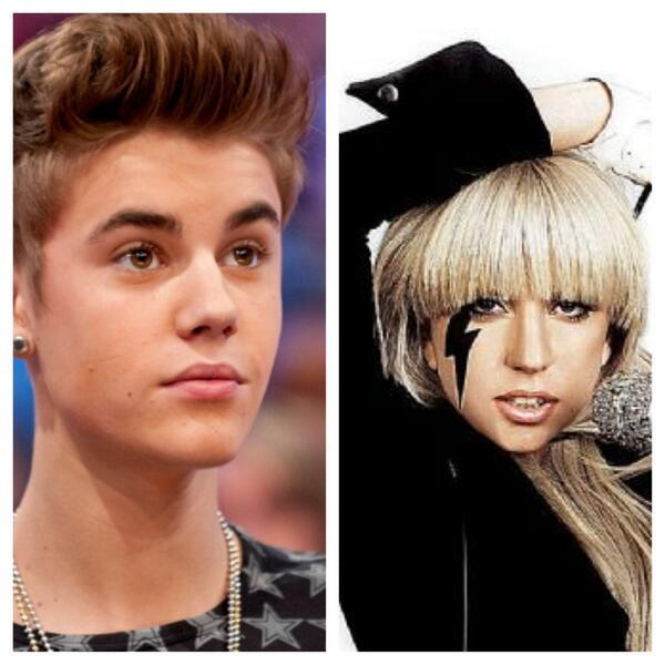 Justin Bieber, Lady Gaga - Justin Bieber VS Lady Gaga.  RT for Justin. Fav For Lady Gaga.  Two most