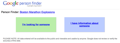 world-shaker:  Google Person Finder for the Boston Marathon