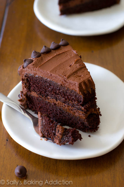 fattiesdelight:  Moist Triple Chocolate Layer Cake
