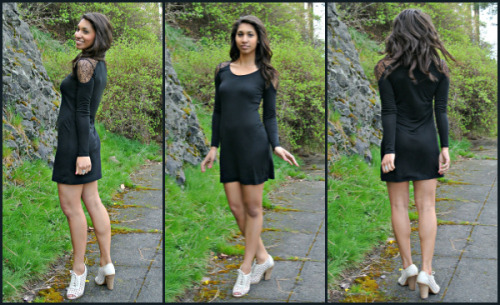 La Made Little Black Tee Dress with Lace Shoulder Insets. Fabulous!!http://www.gretablu.com/la-made-black-tee-dress-with-lace/
