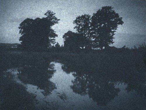 thee-efflux:  Frantisek Drtikol, Trees Reflected in the Water, Night Effect, c. 1901-1907.