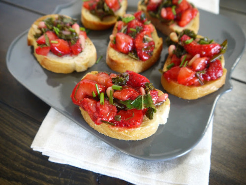 Strawberry and Kale Bruschetta