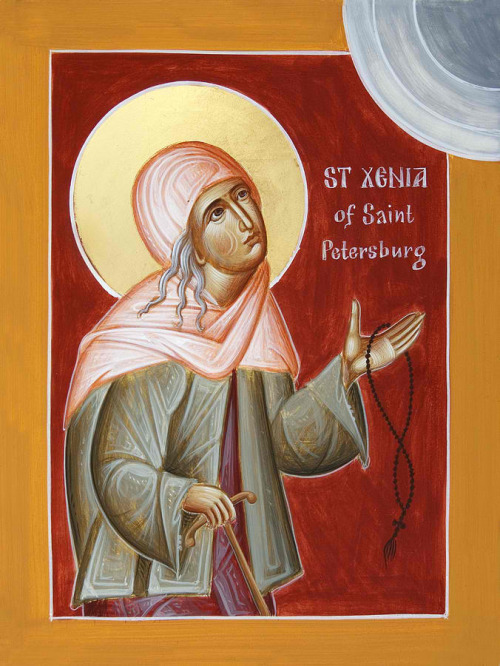 "Today the Orthodox Church remembers Blessed Xenia of St Petersburg! Little is known of her early life. Neither the dates of her birth nor of her death are known. Her birth is believed to have been about 1731 and her death about 1803. The wife of Colonel Andrei Feodorovich Petrov, who served as a court chorister, Xenia fell into great grief upon the death of her husband when she was 26 years old. Appearing to have lost her mind from her grief, Xenia distributed her possessions to the poor, and keeping and dressing only in the clothes of her husband she wandered the streets of St Petersburg among the paupers. She called herself by her husband's name: Andrei Feodorovich. Her life was centered on God, seeking protection and comfort only in Him. During the nights, she refused refuge and went into the fields where she prayed through the nights. When relatives of Xenia tried to help her with necessities she replied , ""I do not need anything."" The people of St. Petersburg came to love her as she placed the Kingdom of Heaven before earthly possessions. The people considered her presence in their homes as good signs. Her acceptance of services and bread from merchants, however small, brought them great sales as their customers, who loved the saintly Xenia, frequented those who helped her. Xenia possessed the gift of clairvoyance. She foretold the deaths of the Empress Elizabeth, in 1761, and of the imprisoned John IV Antonovich, the great-great-grandson of Tsar Alexis, in 1764. After her death her grave became a place of pilgrimage. Portions of the dirt from her grave brought healing for many of the pilgrims. Those who turn to St Xenia in prayer receive healing from illness, and deliverance from their afflictions. She is also known for helping people who seek jobs."