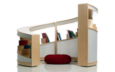 very cool bookshelf to surround your young readers link