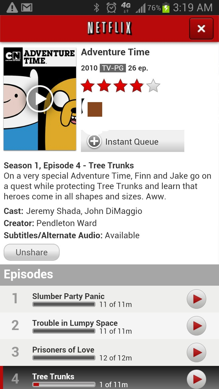 "Up watching Jake and Finn. ""What time is it?"" Adventure Time, you say? No, it's 3 o'clock in the morning. Time to go to sleep. Lol."