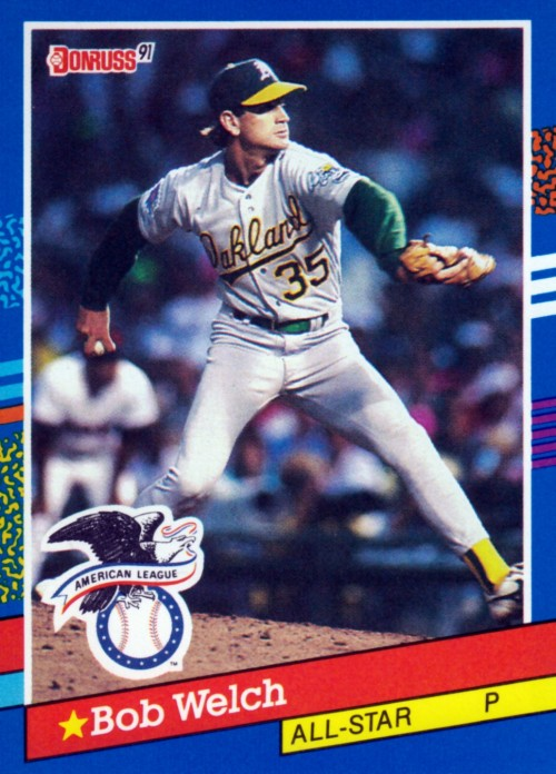 Random Baseball Card #2372: Bob Welch, pitcher, Oakland A's, 1991, Donruss.