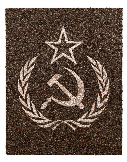 alex-yudzon:  Hammer, Sickle, Star and Laurels, made out of sunflower seed shells, 2012, 47 x 37 inches.