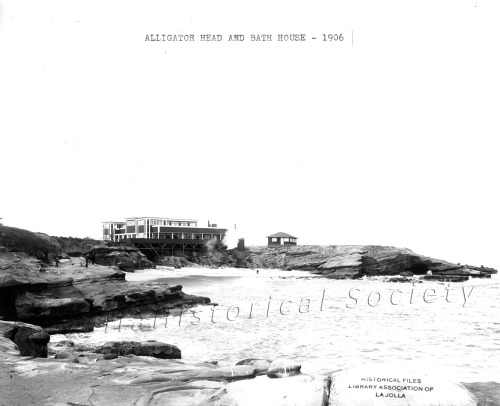 ljhshistory:  A bath house was built at La Jolla Cove in the 1890's. This is a picture of the second bath house erected after the first burned down. The bath houses were built by the owners of the rail line that ran day trippers from downtown San Diego to La Jolla. The small building to the right of the bath house was the Scripps Biological Station.
