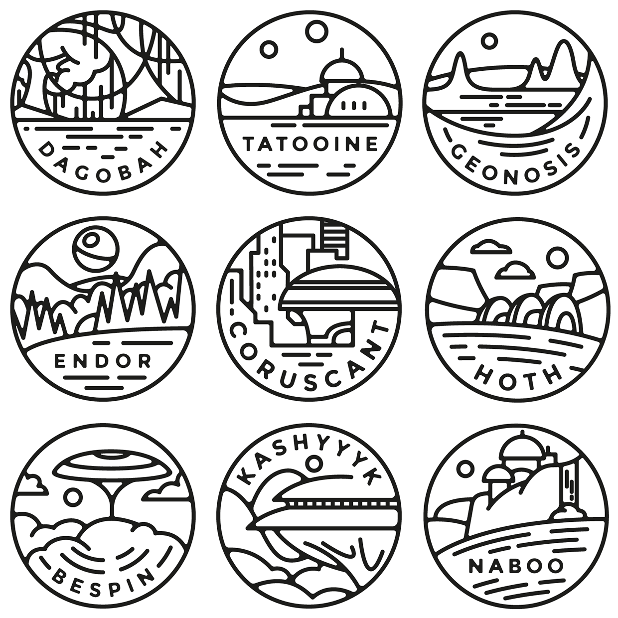 TieFighters — Star Wars Planet Badges Series by Alexandre...