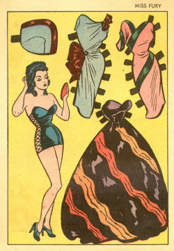 gentlemanlosergentlemanjunkie:  Miss Fury paper dolls from issue #2, 1942. (via Saved From The Paper Drive: Miss Fury Paper Dolls)   ;)