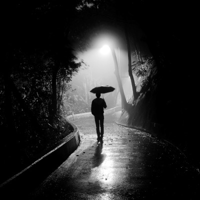 two-color:  Lonely man in the fog and rain (by P.U.N.K)