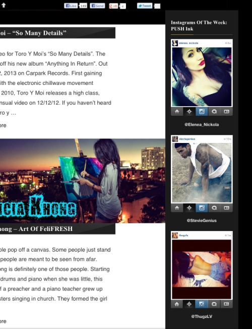 Check me out on http://pushmagonline.com/ as one of the Instagramers of the week Push Ink