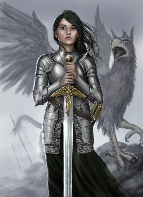 Female Knight and Griffin by *dashinvaine