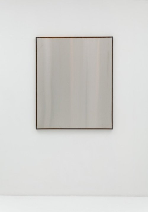 Sam Falls, Untitled (Framed Steel 1), steel and stainless steel 48 x 40 inches, 2012.
