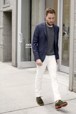 clubmonaco-pressroom:  August - Look 14 Wright Herringbone Suit Blazer, Marled Crew, Williams Crew, 5-Pocket Cords, Mark McNairy Derby Shoe