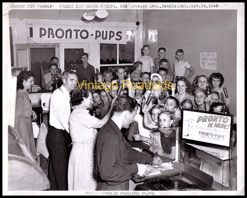 The Indianapolis debut of the Pronto Pup at the Wright Ice Cream Parlor in 1946.