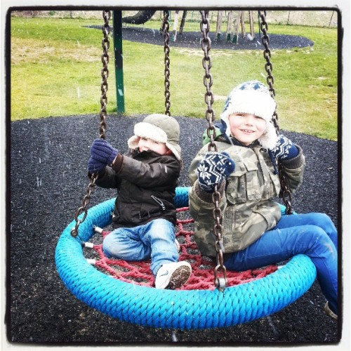 Swinging in the snow #boys #Zane #nephew #fun #park