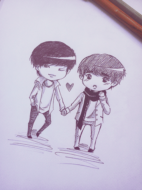 oharu:  just a quick Kaisoo fanart ^^ (I really hate drawing chibis but feels ;AAAA;)