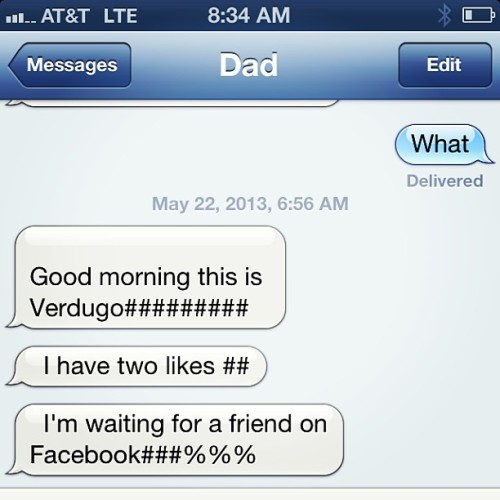 my father's name isn't Verdugo & this is how he does hastgs via txt 🙏