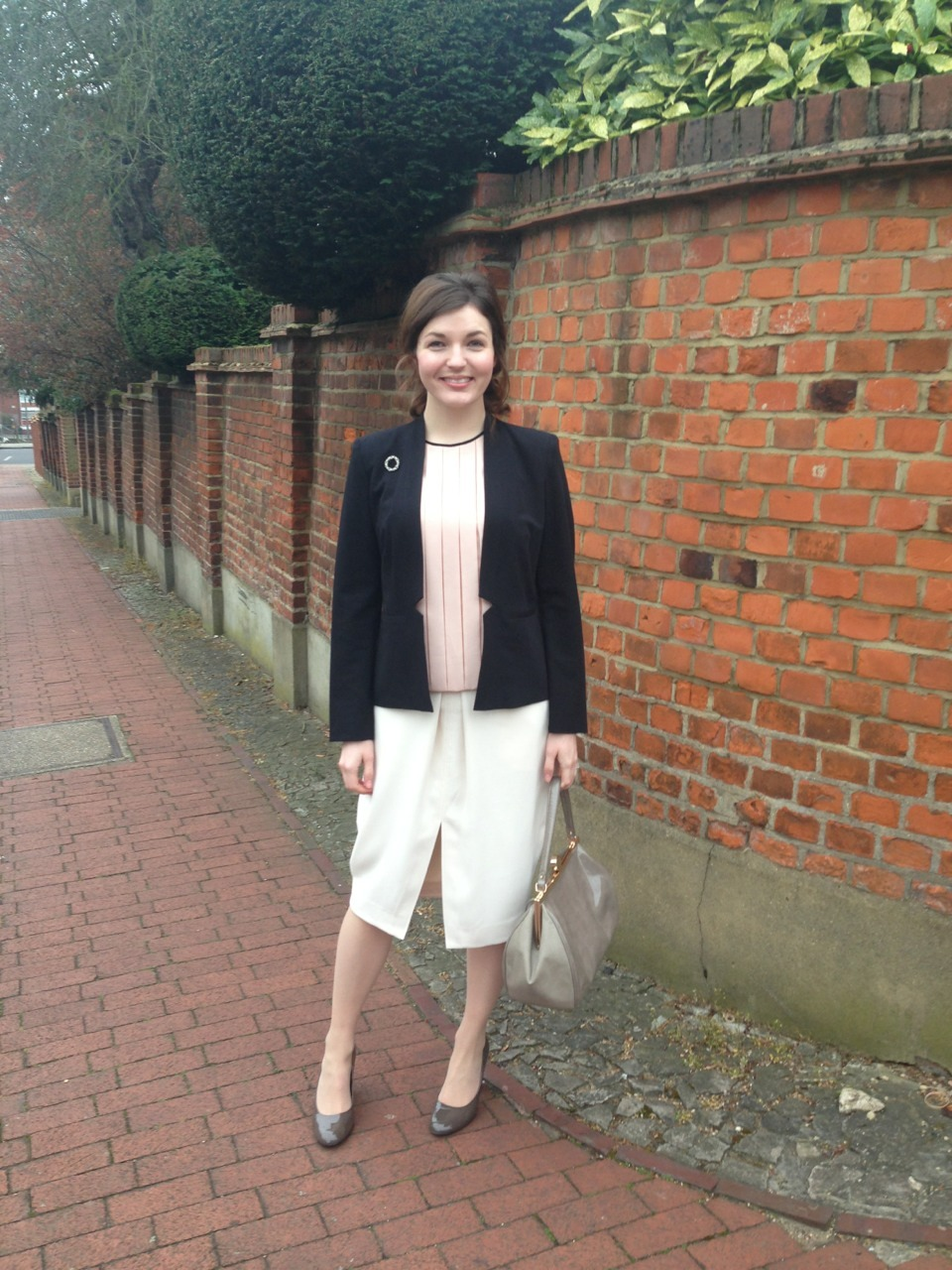 Tuesday 16 April 2013  London  Clad in a Reiss skirt, Laura Ashley shell top and Marks + Spencer blazer for a meeting in Central London. I accessorised with patent heels from Isola, a taupe bag from Marks + Spencer, and my grandmother's brooch.