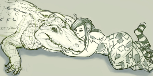 omg, just woke up from a dream where I had a giant pet alligator who would eat anyone who came into the house, which was this abandoned house with rain pouring in through the decayed walls & roof (an atmosphere I dream of constantly), but would cuddleup with me and would let me kiss him all over his face. ;n; (I was also wearing this sweet dress covered in mold and patches cut from scraps I found around the house & yard). But yeah he was fat and cuddly and when he didn't have intruders to eat, I'd hunt animals with a bow and would have to feed him far away from me because it's like he was afraid of scaring me by showing his big teefs. ;u;