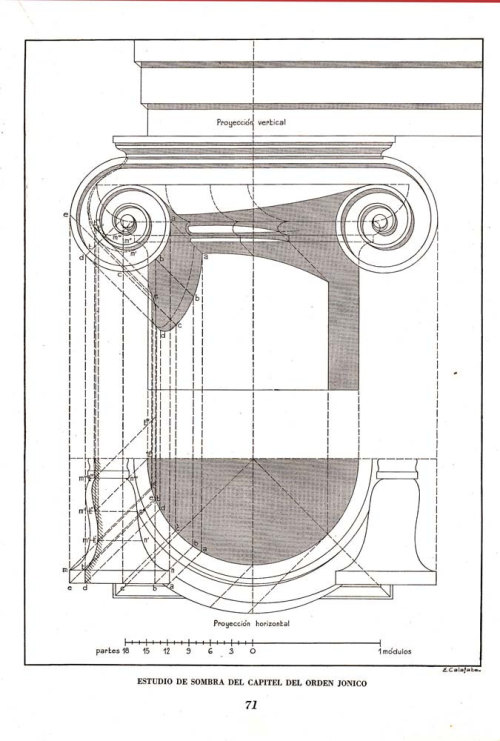 Architectural print Vignola  Ionic Capital Shadow Study Art Illustration 1948 at CarambasVintage http://etsy.me/13TWLxF